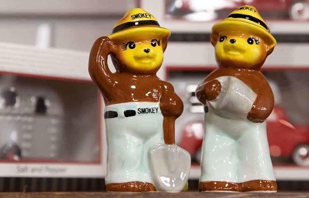 Smokey bear salt and pepper shakers